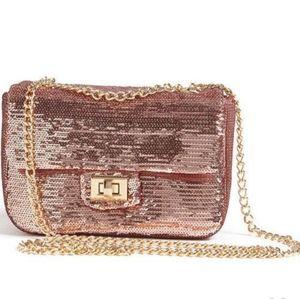 Rose Gold Sequin Crossbody Bag